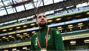 26 March 2019; Shane Duffy of Republic of Ireland prior to the UEFA EURO2020 Group D qualifying match between Republic of Ireland and Georgia at the Aviva Stadium, Lansdowne Road, in Dublin. Photo by Stephen McCarthy/Sportsfile