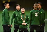 26 March 2019; Republic of Ireland players, from left, Mark Travers, John Egan, Jack Byrne, James McClean and Kevin Long prior to the UEFA EURO2020 Group D qualifying match between Republic of Ireland and Georgia at the Aviva Stadium, Lansdowne Road, in Dublin. Photo by Seb Daly/Sportsfile