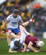 24 March 2019; Joe Canning of Galway is tackled by Shane Bennett of Waterford and Kevin Moran of Waterford during the Allianz Hurling League Division 1 Semi-Final match between Galway and Waterford at Nowlan Park in Kilkenny. Photo by Harry Murphy/Sportsfile