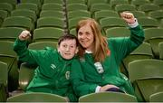 26 March 2019; Republic of Ireland supporters Siobhan Broderick and Sean Dunne, from Lucan, Dublin, prior to the UEFA EURO2020 Group D qualifying match between Republic of Ireland and Georgia at the Aviva Stadium, Lansdowne Road, in Dublin. Photo by Harry Murphy/Sportsfile