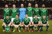 26 March 2019; The Republic of Ireland team, back row, from left, Conor Hourihane, Glenn Whelan, Darren Randolph, Shane Duffy, Richard Keogh and David McGoldrick. Front row, from left, Seamus Coleman, Robbie Brady, Jeff Hendrick, Enda Stevens and James McClean prior to the UEFA EURO2020 Group D qualifying match between Republic of Ireland and Georgia at the Aviva Stadium, Lansdowne Road, in Dublin. Photo by Stephen McCarthy/Sportsfile