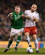 26 March 2019; James McClean of Republic of Ireland in action against Valerian Gvilia of Georgia during the UEFA EURO2020 Group D qualifying match between Republic of Ireland and Georgia at the Aviva Stadium, Lansdowne Road, in Dublin. Photo by Stephen McCarthy/Sportsfile