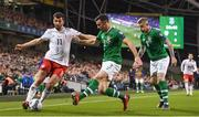 26 March 2019; Giorgi Kvilitaia of Georgia in action against Enda Stevens, centre, and James McClean of Republic of Ireland during the UEFA EURO2020 Group D qualifying match between Republic of Ireland and Georgia at the Aviva Stadium, Lansdowne Road, in Dublin. Photo by Harry Murphy/Sportsfile