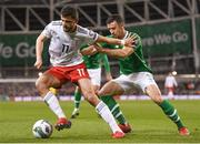 26 March 2019; Giorgi Kvilitaia of Georgia in action against Enda Stevens of Republic of Ireland during the UEFA EURO2020 Group D qualifying match between Republic of Ireland and Georgia at the Aviva Stadium, Lansdowne Road, in Dublin. Photo by Harry Murphy/Sportsfile
