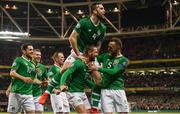 26 March 2019; Conor Hourihane of Republic of Ireland celebrates after scoring his side's first goal with team-mates during the UEFA EURO2020 Group D qualifying match between Republic of Ireland and Georgia at the Aviva Stadium, Lansdowne Road, in Dublin. Photo by Stephen McCarthy/Sportsfile