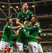 26 March 2019; Conor Hourihane of Republic of Ireland celebrates after scoring his side's first goal with team-mates, from left, Robbie Brady, Shane Duffy and Richard Keogh during the UEFA EURO2020 Group D qualifying match between Republic of Ireland and Georgia at the Aviva Stadium, Lansdowne Road, in Dublin. Photo by Stephen McCarthy/Sportsfile