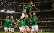 26 March 2019; Conor Hourihane of Republic of Ireland celebrates after scoring his side's first goal with team-mates, from left, Robbie Brady, James McClean, Shane Duffy and Richard Keogh during the UEFA EURO2020 Group D qualifying match between Republic of Ireland and Georgia at the Aviva Stadium, Lansdowne Road, in Dublin. Photo by Stephen McCarthy/Sportsfile