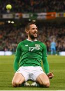 26 March 2019; Conor Hourihane of Republic of Ireland celebrates after scoring his side's first goal during the UEFA EURO2020 Group D qualifying match between Republic of Ireland and Georgia at the Aviva Stadium, Lansdowne Road, in Dublin. Photo by Stephen McCarthy/Sportsfile