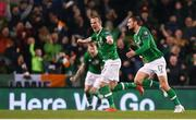 26 March 2019; Conor Hourihane of Republic of Ireland celebrates after scoring his side's first goal with team-mate Glenn Whelan during the UEFA EURO2020 Group D qualifying match between Republic of Ireland and Georgia at the Aviva Stadium, Lansdowne Road, in Dublin. Photo by Stephen McCarthy/Sportsfile