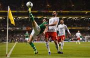 26 March 2019; Robbie Brady of Republic of Ireland in action against Davit Khocholava of Georgia during the UEFA EURO2020 Group D qualifying match between Republic of Ireland and Georgia at the Aviva Stadium, Lansdowne Road, in Dublin. Photo by Seb Daly/Sportsfile