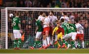 26 March 2019; Conor Hourihane of Republic of Ireland shoots to score his side's first goal during the UEFA EURO2020 Group D qualifying match between Republic of Ireland and Georgia at the Aviva Stadium, Lansdowne Road, in Dublin. Photo by Harry Murphy/Sportsfile