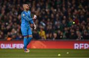 26 March 2019; Darren Randolph of Republic of Ireland clears the tennis balls during the UEFA EURO2020 Group D qualifying match between Republic of Ireland and Georgia at the Aviva Stadium, Lansdowne Road, in Dublin. Photo by Harry Murphy/Sportsfile