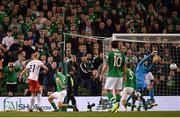26 March 2019; Darren Randolph of Republic of Ireland makes a save from a shot by Valerian Gvilia of Georgia during the UEFA EURO2020 Group D qualifying match between Republic of Ireland and Georgia at the Aviva Stadium, Lansdowne Road, in Dublin. Photo by Seb Daly/Sportsfile