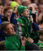 26 March 2019; Republic of Ireland supporters celebrates after their side's first goal, scored by Conor Hourihane, during the UEFA EURO2020 Group D qualifying match between Republic of Ireland and Georgia at the Aviva Stadium, Lansdowne Road, in Dublin. Photo by Seb Daly/Sportsfile