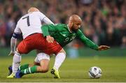 26 March 2019; David McGoldrick of Republic of Ireland in action against Jaba Kankava of Georgia during the UEFA EURO2020 Group D qualifying match between Republic of Ireland and Georgia at the Aviva Stadium, Lansdowne Road, in Dublin. Photo by Stephen McCarthy/Sportsfile