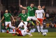 26 March 2019; Robbie Brady of Republic of Ireland Nika Kvekveskiri of Georgia during the UEFA EURO2020 Group D qualifying match between Republic of Ireland and Georgia at the Aviva Stadium, Lansdowne Road, in Dublin. Photo by Stephen McCarthy/Sportsfile