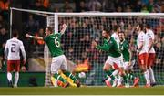26 March 2019; Conor Hourihane of Republic of Ireland, right, celebrates after scoring his side's first goal with team-mate Glenn Whelan during the UEFA EURO2020 Group D qualifying match between Republic of Ireland and Georgia at the Aviva Stadium, Lansdowne Road, in Dublin. Photo by Harry Murphy/Sportsfile