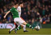 26 March 2019; Seamus Coleman of Republic of Ireland in action against Solomon Kverkvelia of Georgia during the UEFA EURO2020 Group D qualifying match between Republic of Ireland and Georgia at the Aviva Stadium, Lansdowne Road, in Dublin. Photo by Harry Murphy/Sportsfile