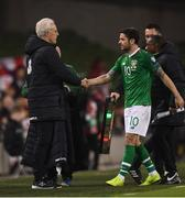 26 March 2019; Republic of Ireland manager Mick McCarthy with Robbie Brady after he is substituted off during the UEFA EURO2020 Group D qualifying match between Republic of Ireland and Georgia at the Aviva Stadium, Lansdowne Road, in Dublin. Photo by Stephen McCarthy/Sportsfile