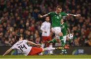 26 March 2019; Glenn Whelan of Republic of Ireland in action against Vato Arveladze of Georgia during the UEFA EURO2020 Group D qualifying match between Republic of Ireland and Georgia at the Aviva Stadium, Lansdowne Road, in Dublin. Photo by Harry Murphy/Sportsfile