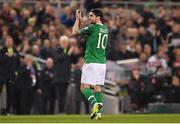 26 March 2019; Robbie Brady of Republic of Ireland applauds to the supporters as he is subsituted off during the UEFA EURO2020 Group D qualifying match between Republic of Ireland and Georgia at the Aviva Stadium, Lansdowne Road, in Dublin. Photo by Seb Daly/Sportsfile