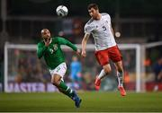 26 March 2019; Solomon Kverkvelia of Georgia in action against David McGoldrick of Republic of Ireland during the UEFA EURO2020 Group D qualifying match between Republic of Ireland and Georgia at the Aviva Stadium, Lansdowne Road, in Dublin. Photo by Seb Daly/Sportsfile