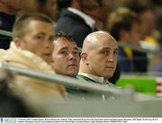 11 October 2003; Ireland players Marcus Horan, left, Anthony Foley and Keith Wood sit on the bench after being substituted against Romania. 2003 Rugby World Cup, Pool A, Ireland v Romania, Central Coast Stadium, Gosford, New South Wales, Australia. Picture credit; Brendan Moran / SPORTSFILE *EDI*