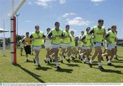 20 October 2003; Members of the Ireland squad, led by Shane Ryan and Dessie Dolan, during a training session in preparation for the Australia v Ireland, International Rules game. Swan Districts Football Club, Bassendean Oval, Bassendean, Perth, Western Australia. Picture credit; Ray McManus / SPORTSFILE *EDI*