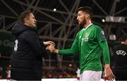 26 March 2019; Republic of Ireland assistant coach Robbie Keane with Matt Doherty following the UEFA EURO2020 Group D qualifying match between Republic of Ireland and Georgia at the Aviva Stadium, Lansdowne Road, in Dublin. Photo by Stephen McCarthy/Sportsfile