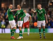 26 March 2019; Republic of Ireland players, from left, Glenn Whelan, Conor Hourihane and James McClean following the UEFA EURO2020 Group D qualifying match between Republic of Ireland and Georgia at the Aviva Stadium, Lansdowne Road, in Dublin. Photo by Seb Daly/Sportsfile
