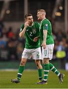 26 March 2019; Seamus Coleman, left, and James McClean of Republic of Ireland following the UEFA EURO2020 Group D qualifying match between Republic of Ireland and Georgia at the Aviva Stadium, Lansdowne Road, in Dublin. Photo by Seb Daly/Sportsfile