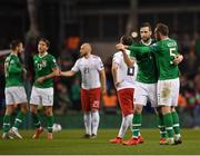 26 March 2019; Shane Duffy, left, and Richard Keogh of Republic of Ireland embrace following the UEFA EURO2020 Group D qualifying match between Republic of Ireland and Georgia at the Aviva Stadium, Lansdowne Road, in Dublin. Photo by Seb Daly/Sportsfile