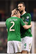 26 March 2019; Shane Duffy, right, and Seamus Coleman of Republic of Ireland embrace following the UEFA EURO2020 Group D qualifying match between Republic of Ireland and Georgia at the Aviva Stadium, Lansdowne Road, in Dublin. Photo by Seb Daly/Sportsfile