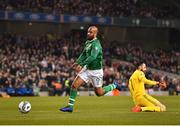 26 March 2019; David McGoldrick of Republic of Ireland rounds Giorgi Loria of Georgia during the UEFA EURO2020 Group D qualifying match between Republic of Ireland and Georgia at the Aviva Stadium, Lansdowne Road, in Dublin. Photo by Seb Daly/Sportsfile