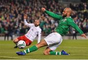 26 March 2019; David McGoldrick of Republic of Ireland shoots at goal during the UEFA EURO2020 Group D qualifying match between Republic of Ireland and Georgia at the Aviva Stadium, Lansdowne Road, in Dublin. Photo by Seb Daly/Sportsfile