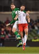 26 March 2019; Giorgi Kvilitaia of Georgia in action against Richard Keogh of Republic of Ireland during the UEFA EURO2020 Group D qualifying match between Republic of Ireland and Georgia at the Aviva Stadium, Lansdowne Road, in Dublin. Photo by Seb Daly/Sportsfile