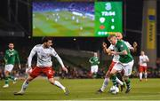 26 March 2019; James McClean of Republic of Ireland in action against Otar Kakabadze, left, and Valerian Gvilia of Georgia during the UEFA EURO2020 Group D qualifying match between Republic of Ireland and Georgia at the Aviva Stadium, Lansdowne Road, in Dublin. Photo by Seb Daly/Sportsfile