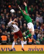 26 March 2019; Richard Keogh of Republic of Ireland in action against Giorgi Kvilitaia of Georgia during the UEFA EURO2020 Group D qualifying match between Republic of Ireland and Georgia at the Aviva Stadium, Lansdowne Road, in Dublin. Photo by Harry Murphy/Sportsfile