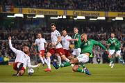 26 March 2019; David McGoldrick of Republic of Ireland in action against Guram Kashia of Georgia during the UEFA EURO2020 Group D qualifying match between Republic of Ireland and Georgia at the Aviva Stadium, Lansdowne Road, in Dublin. Photo by Seb Daly/Sportsfile