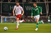 26 March 2019; Conor Hourihane of Republic of Ireland in action against Solomon Kverkvelia of Georgia during the UEFA EURO2020 Group D qualifying match between Republic of Ireland and Georgia at the Aviva Stadium, Lansdowne Road, in Dublin. Photo by Seb Daly/Sportsfile