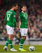 26 March 2019; Conor Hourihane, left, and Robbie Brady of Republic of Ireland during the UEFA EURO2020 Group D qualifying match between Republic of Ireland and Georgia at the Aviva Stadium, Lansdowne Road, in Dublin. Photo by Seb Daly/Sportsfile