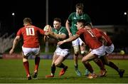 15 March 2019; Sean French of Ireland in action against Sam Costelow, left, and Tiaan Thomas-Wheeler of Wales during the U20 Six Nations Rugby Championship match between Wales and Ireland at Zip World Stadium in Colwyn Bay, Wales. Photo by Piaras Ó Mídheach/Sportsfile