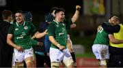 15 March 2019; John Hodnett of Ireland, centre, celebrates after the U20 Six Nations Rugby Championship match between Wales and Ireland at Zip World Stadium in Colwyn Bay, Wales. Photo by Piaras Ó Mídheach/Sportsfile