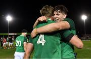 15 March 2019; Ryan Baird, right, and Charlie Ryan of Ireland celebrate after the U20 Six Nations Rugby Championship match between Wales and Ireland at Zip World Stadium in Colwyn Bay, Wales. Photo by Piaras Ó Mídheach/Sportsfile