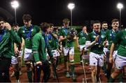 15 March 2019; Ireland captain Charlie Ryan with the cup after the U20 Six Nations Rugby Championship match between Wales and Ireland at Zip World Stadium in Colwyn Bay, Wales. Photo by Piaras Ó Mídheach/Sportsfile
