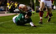 15 March 2019; Angus Kernohan of Ireland scores a second half try, that was overturned by referee Christophe Ridley, during the U20 Six Nations Rugby Championship match between Wales and Ireland at Zip World Stadium in Colwyn Bay, Wales. Photo by Piaras Ó Mídheach/Sportsfile