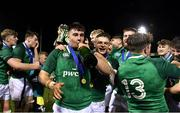15 March 2019; Ireland players John Hodnett and Angus Kernohan, centre, celebrate after the U20 Six Nations Rugby Championship match between Wales and Ireland at Zip World Stadium in Colwyn Bay, Wales. Photo by Piaras Ó Mídheach/Sportsfile