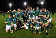 15 March 2019; Ireland players celebrate with the cup after the U20 Six Nations Rugby Championship match between Wales and Ireland at Zip World Stadium in Colwyn Bay, Wales. Photo by Piaras Ó Mídheach/Sportsfile