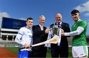 27 March 2019; In attendance at the 2019 Allianz Hurling League Final preview in Croke Park are, from left, Jamie Barron of Waterford, Peter Kilcullen, Allianz Ireland, Uachtaráin Cumann Lúthchleas Gael John Horan and Aaron Gillane of Limerick. 2019 marks the 27th year of Allianz' support of courage on the field of play through its sponsorship of the Allianz Football and Hurling Leagues. Waterford meet Limerick in this Sunday's Division 1 decider at Croke Park at 2pm. Photo by Brendan Moran/Sportsfile