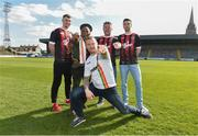 27 March 2019; Comedian PJ Gallagher, centre, with musician Natty Wailer, who played with Bob Marley for 10 years, comedian Eric Lalor and James Finnerty, right, and Kevin Devaney, left, of Bohemians at the launch of the Big Bohs Gig during a media day at Dalymount Park in Dublin. Photo by Matt Browne/Sportsfile